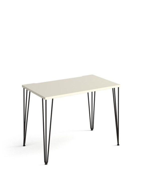 Tikal straight desk 1000mm x 600mm with hairpin legs - black legs, oak top - Furniture