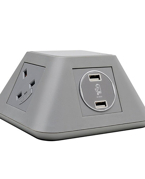 Inca on-surface power module 2 x UK sockets, 2 x twin USB fast charge - grey - Furniture