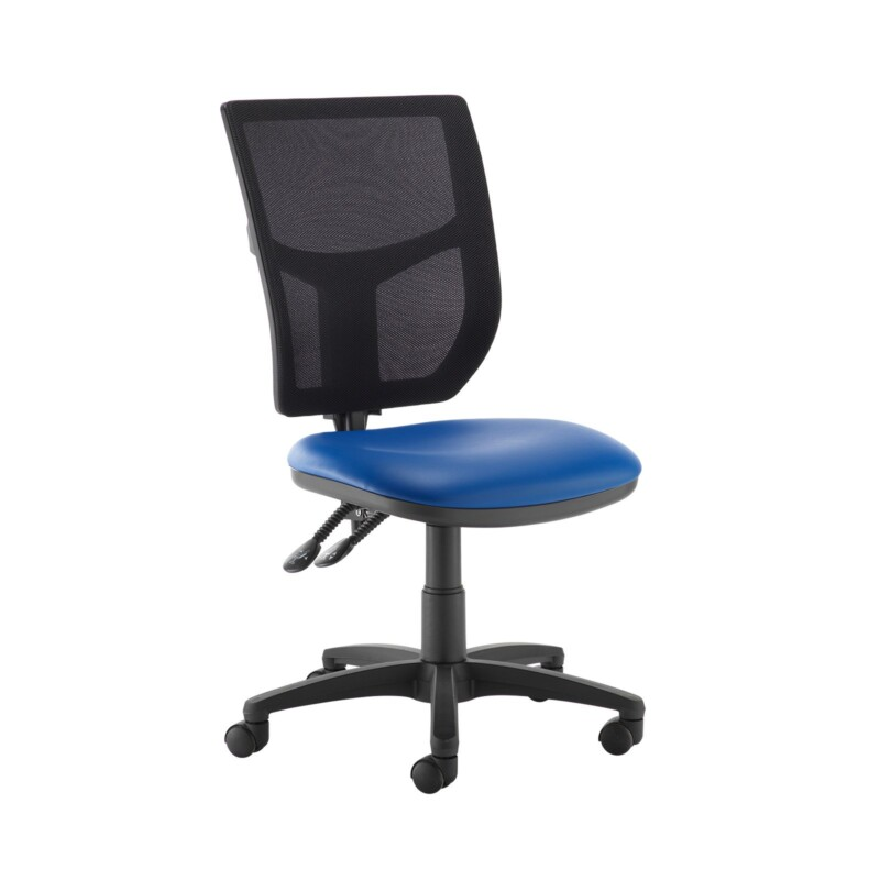 Altino 2 lever high mesh back operators chair with no arms - Ocean Blue vinyl - Furniture