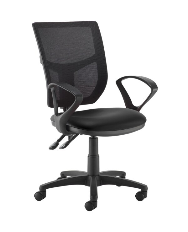 Altino 2 lever high mesh back operators chair with fixed arms - Nero Black vinyl - Furniture