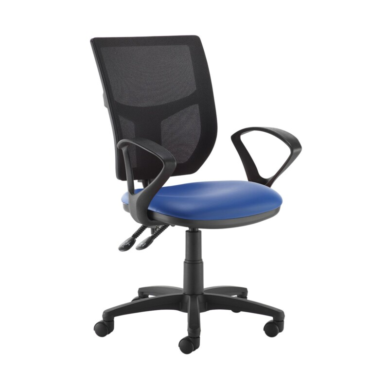 Altino 2 lever high mesh back operators chair with fixed arms - Ocean Blue vinyl - Furniture