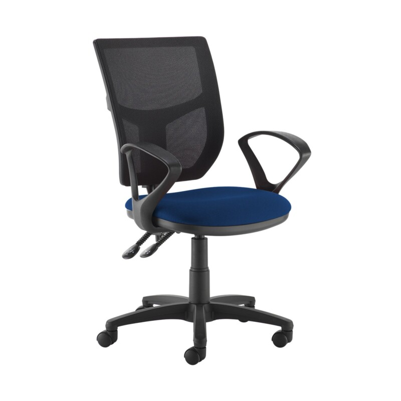 Altino 2 lever high mesh back operators chair with fixed arms - Curacao Blue - Furniture