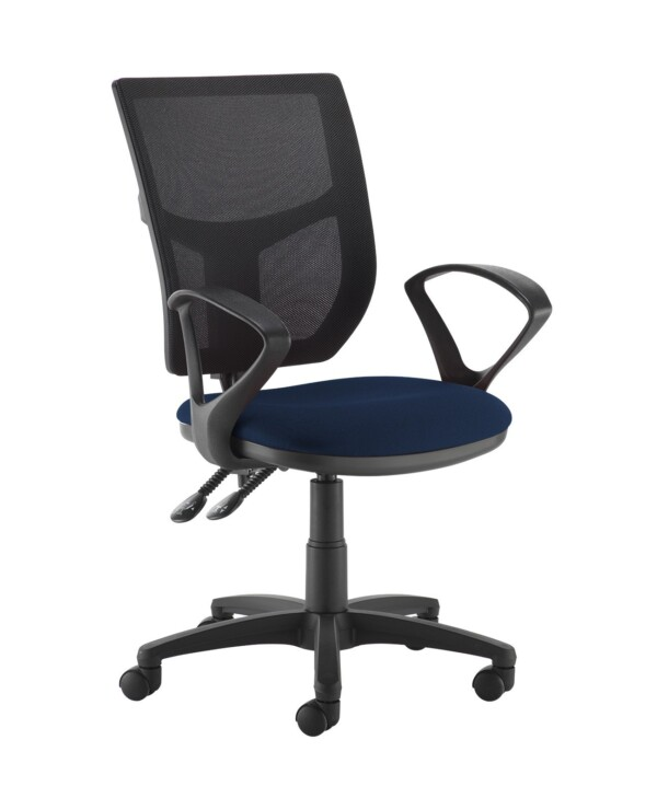 Altino 2 lever high mesh back operators chair with fixed arms - Costa Blue - Furniture