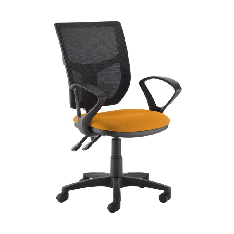 Altino 2 lever high mesh back operators chair with fixed arms - Solano Yellow - Furniture