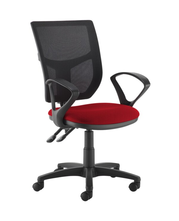 Altino 2 lever high mesh back operators chair with fixed arms - Panama Red - Furniture