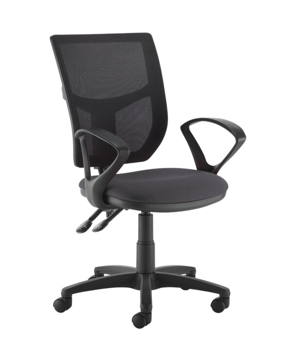 Altino 2 lever high mesh back operators chair with fixed arms - Blizzard Grey - Furniture
