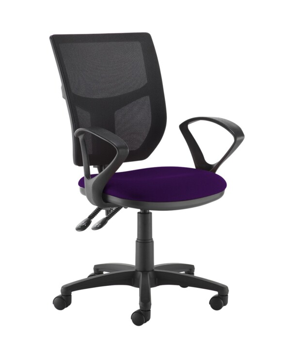 Altino 2 lever high mesh back operators chair with fixed arms - Tarot Purple - Furniture