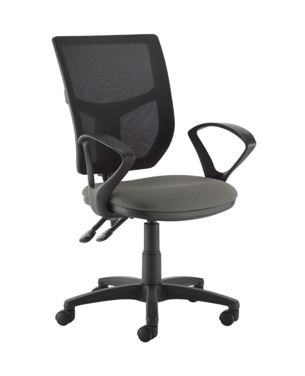 Altino 2 lever high mesh back operators chair with fixed arms - Slip Grey - Furniture