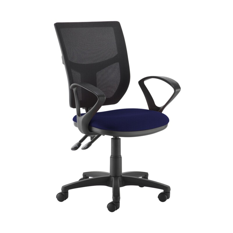 Altino 2 lever high mesh back operators chair with fixed arms - Ocean Blue - Furniture