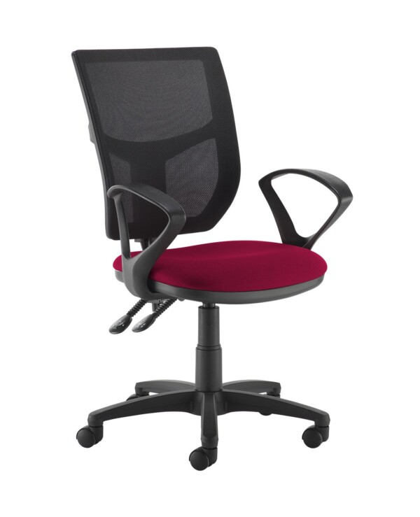 Altino 2 lever high mesh back operators chair with fixed arms - Diablo Pink - Furniture