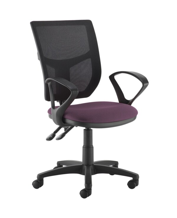 Altino 2 lever high mesh back operators chair with fixed arms - Bridgetown Purple - Furniture