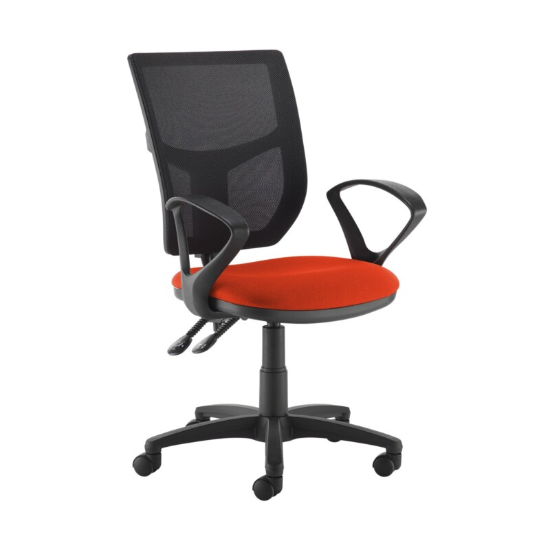 Altino 2 lever high mesh back operators chair with fixed arms - Tortuga Orange - Furniture