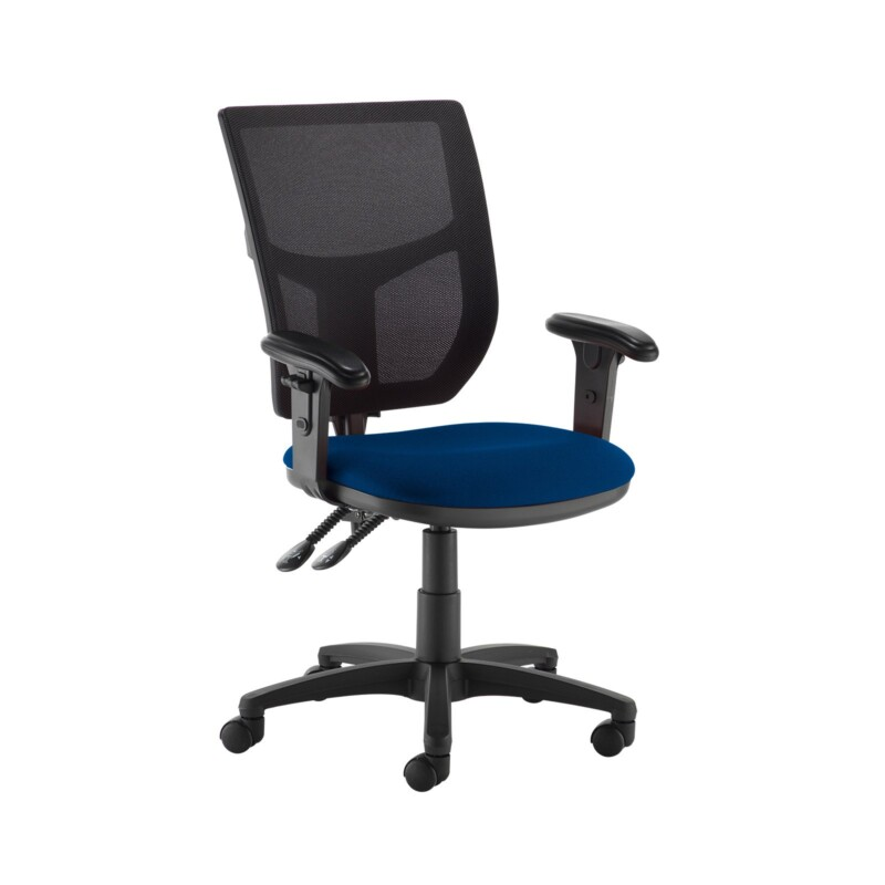 Altino 2 lever high mesh back operators chair with adjustable arms - Curacao Blue - Furniture