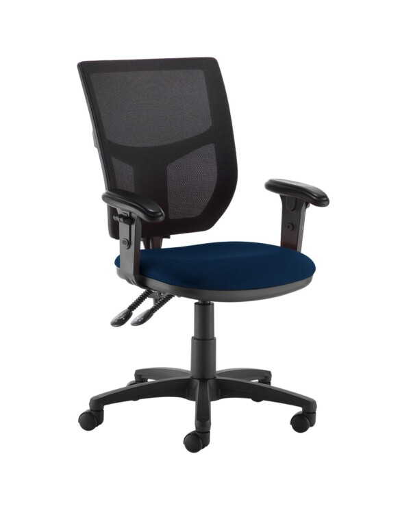 Altino 2 lever high mesh back operators chair with adjustable arms - Costa Blue - Furniture