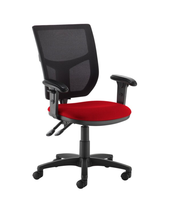 Altino 2 lever high mesh back operators chair with adjustable arms - Panama Red - Furniture