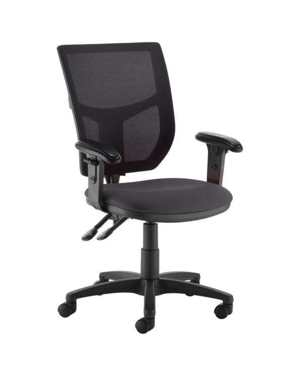 Altino 2 lever high mesh back operators chair with adjustable arms - Blizzard Grey - Furniture