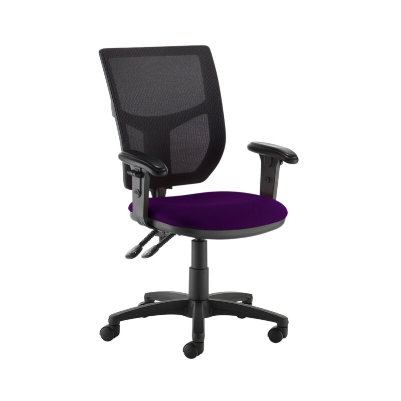 Altino 2 lever high mesh back operators chair with adjustable arms - Tarot Purple - Furniture