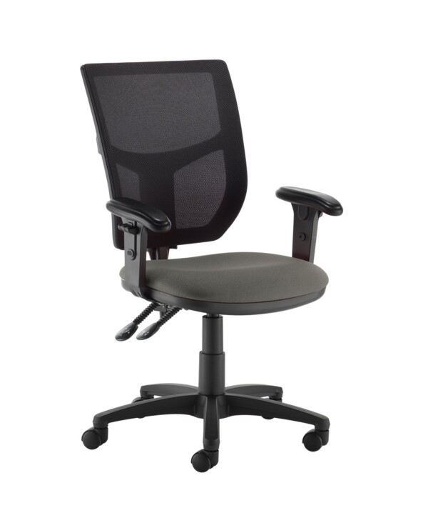 Altino 2 lever high mesh back operators chair with adjustable arms - Slip Grey - Furniture