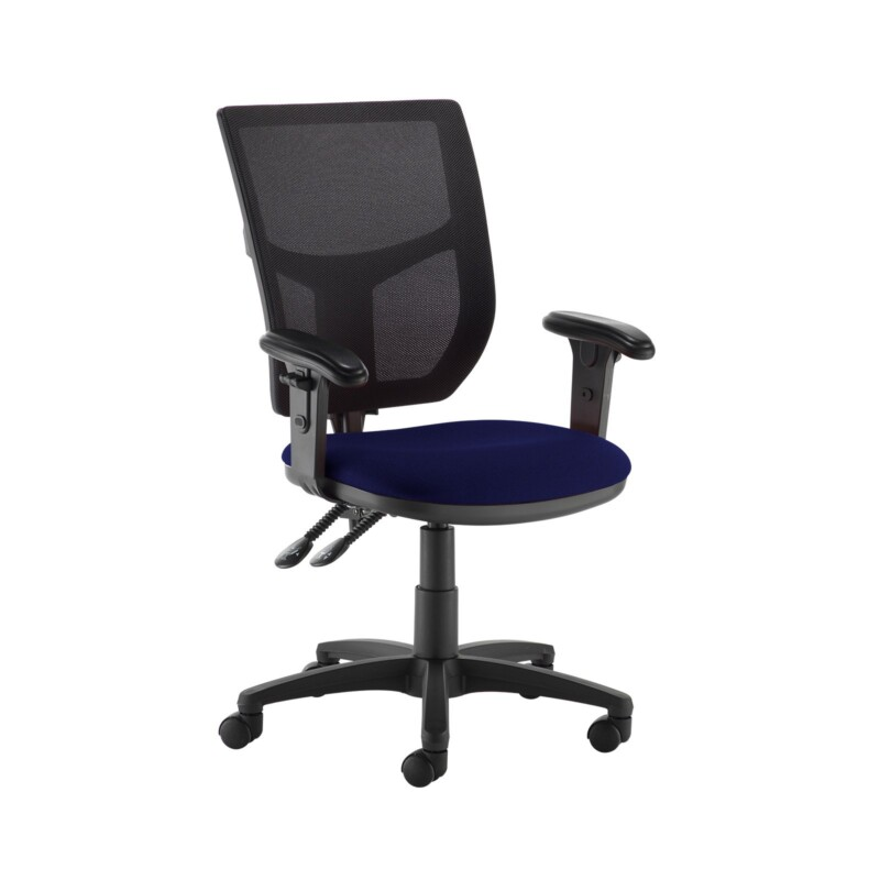 Altino 2 lever high mesh back operators chair with adjustable arms - Ocean Blue - Furniture