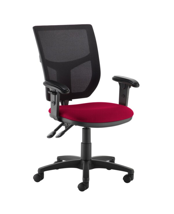 Altino 2 lever high mesh back operators chair with adjustable arms - Diablo Pink - Furniture