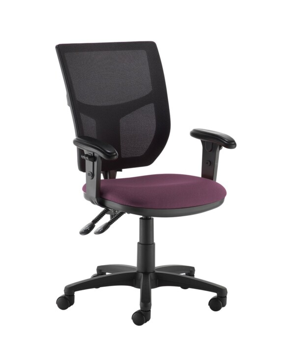 Altino 2 lever high mesh back operators chair with adjustable arms - Bridgetown Purple - Furniture