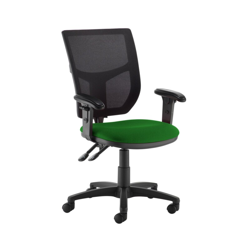 Altino 2 lever high mesh back operators chair with adjustable arms - Lombok Green - Furniture