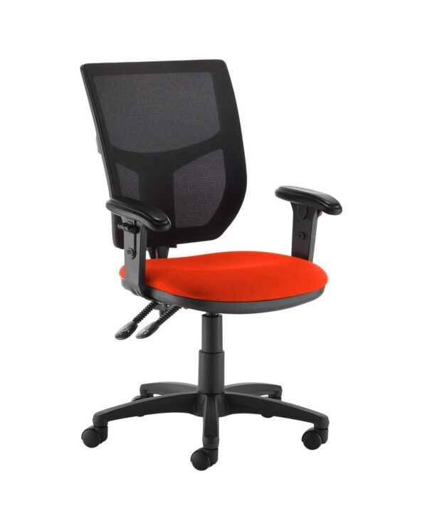 Altino 2 lever high mesh back operators chair with adjustable arms - Tortuga Orange - Furniture