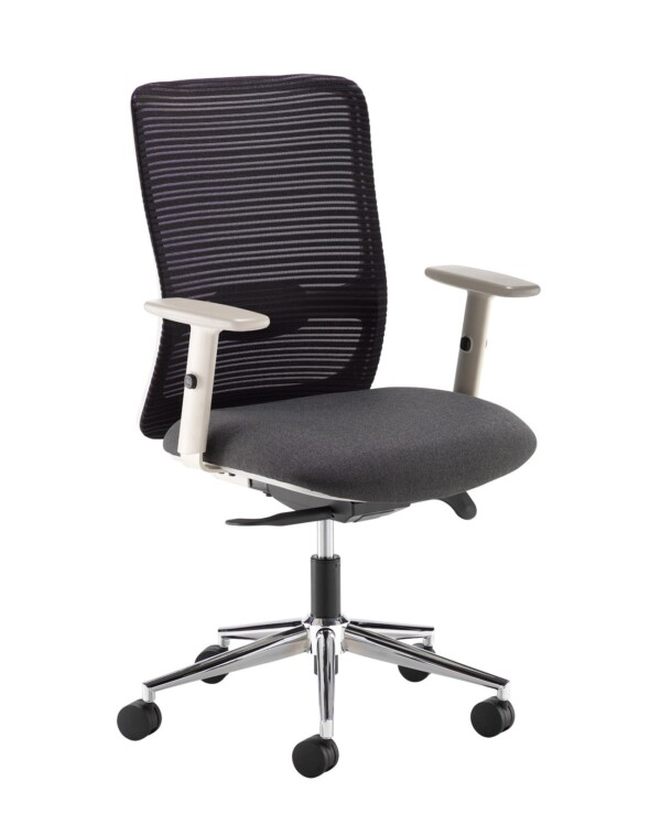 Arcade black mesh back operator chair with black fabric seat, grey frame and chrome base - Furniture