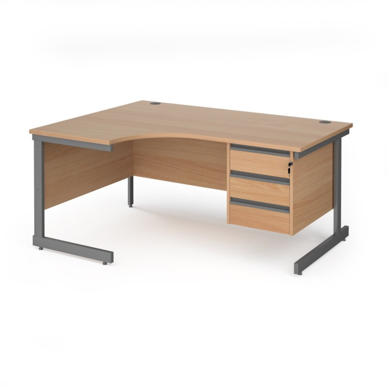 Contract 25 left hand ergonomic desk with 3 drawer pedestal and graphite cantilever leg 1600mm - beech top - Furniture