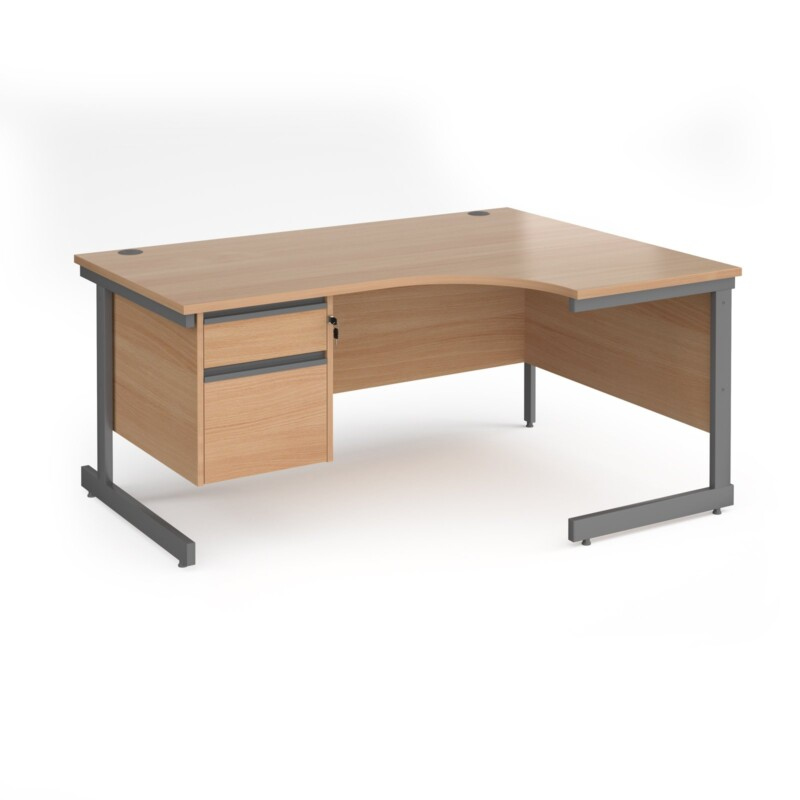 Contract 25 right hand ergonomic desk with 2 drawer pedestal and graphite cantilever leg 1600mm - beech top - Furniture