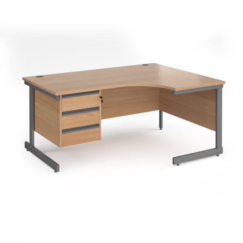 Contract 25 right hand ergonomic desk with 3 drawer pedestal and graphite cantilever leg 1600mm - beech top - Furniture