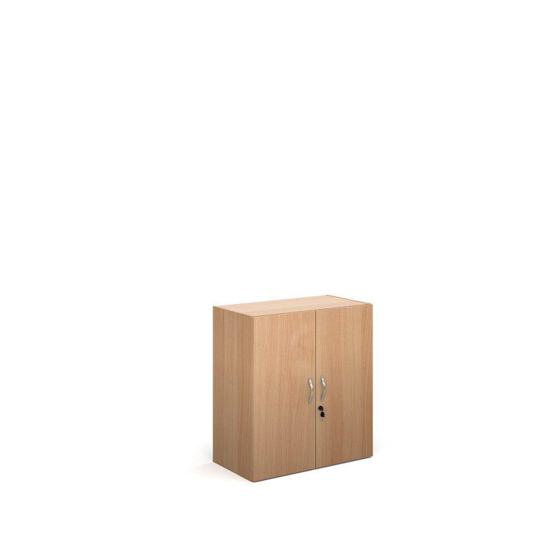 Contract double door cupboard 830mm high with 1 shelf - beech - Furniture