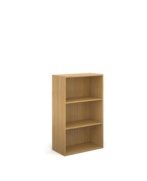 Contract bookcase 1230mm high with 2 shelves - oak - Furniture