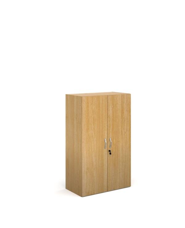 Contract double door cupboard 1230mm high with 2 shelves - oak - Furniture