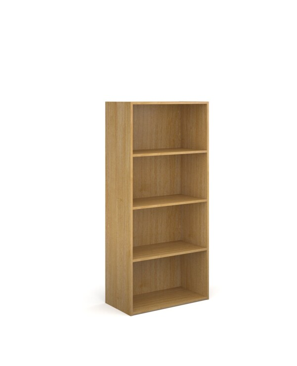 Contract bookcase 1630mm high with 3 shelves - oak - Furniture