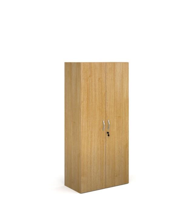 Contract double door cupboard 1630mm high with 3 shelves - oak - Furniture
