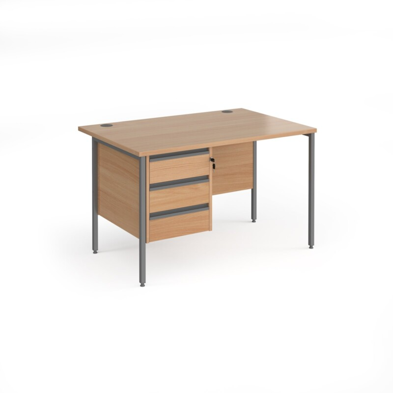 Contract 25 straight desk with 3 drawer pedestal and graphite H-Frame leg 1200mm x 800mm - beech top - Furniture