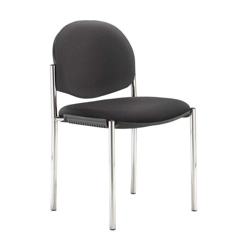 Coda multi purpose stackable conference chair with no arms - Nero Black vinyl - Furniture
