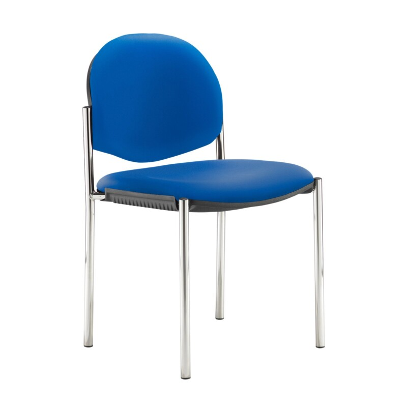 Coda multi purpose stackable conference chair with no arms - Ocean Blue vinyl - Furniture