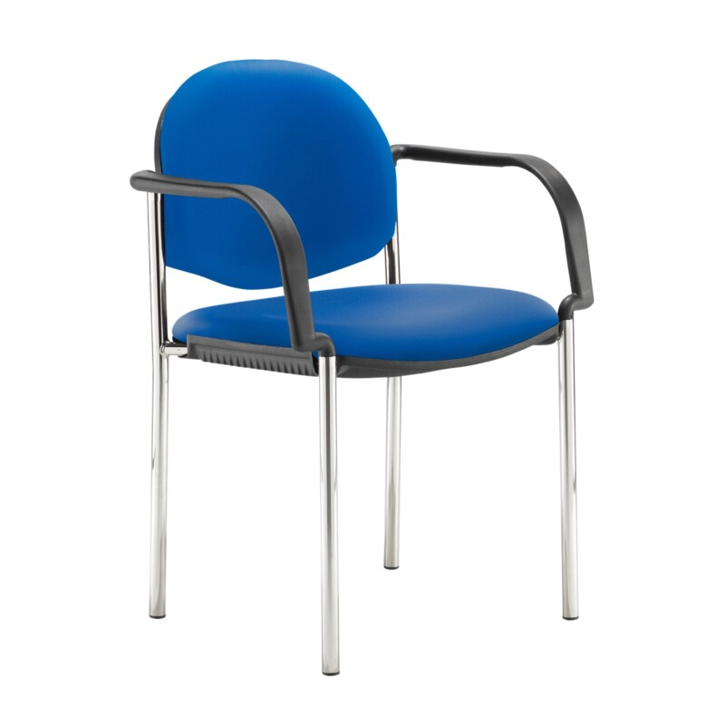 Coda multi purpose stackable conference chair with fixed arms - Ocean Blue vinyl - Furniture