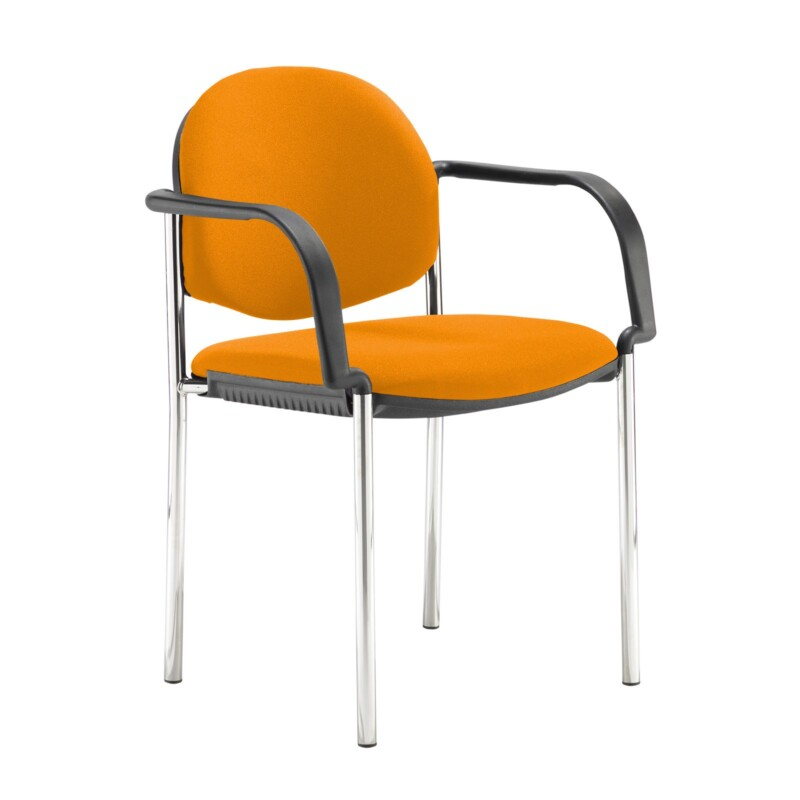 Coda multi purpose stackable conference chair with fixed arms - Solano Yellow - Furniture