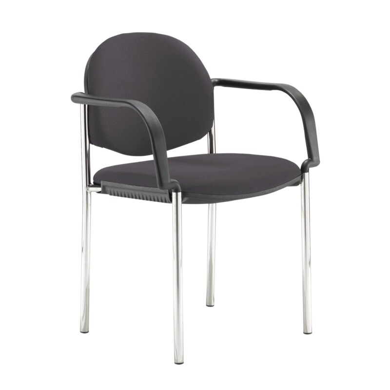 Coda multi purpose stackable conference chair with fixed arms - Blizzard Grey - Furniture