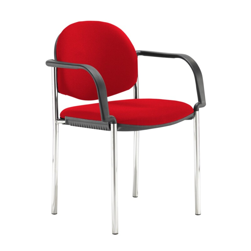 Coda multi purpose stackable conference chair with fixed arms - Belize Red - Furniture