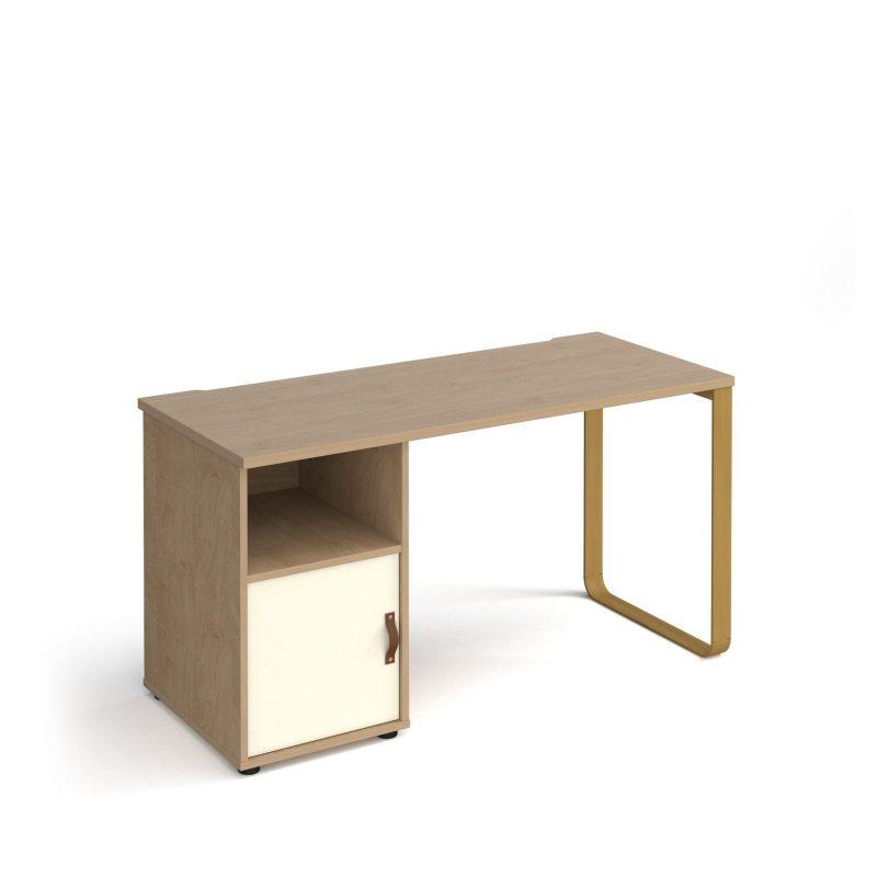 Cairo sleigh frame 600mm deep desk with support pedestal and cupboard door