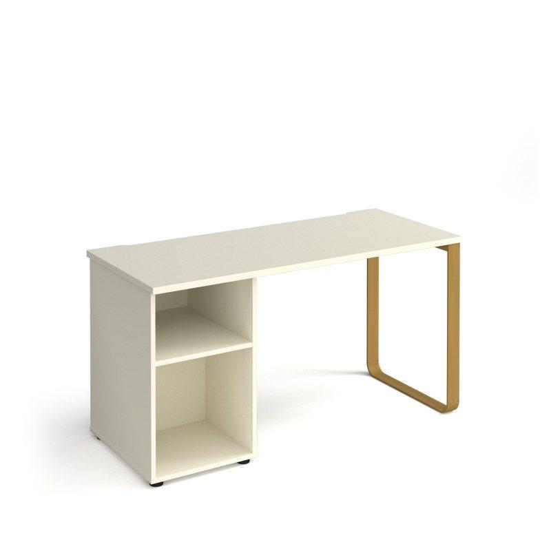 Cairo sleigh frame 600mm deep desk with support pedestal
