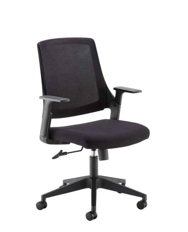 Duffy black mesh back operator chair with black fabric seat and chrome/black base - Furniture