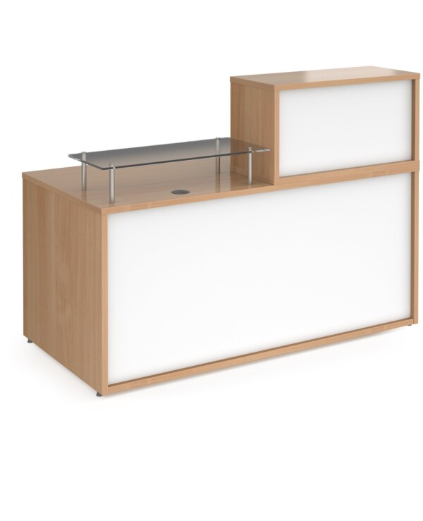Denver medium straight complete reception unit - beech with white panels - Furniture