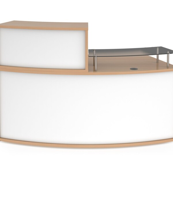 Denver medium curved complete reception unit - beech with white panels - Furniture