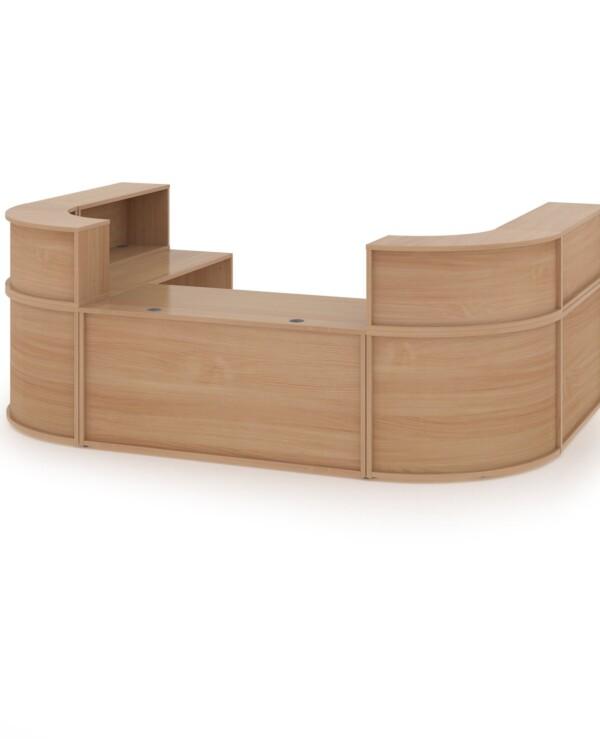 Denver extra large U-shaped complete reception unit - beech - Furniture