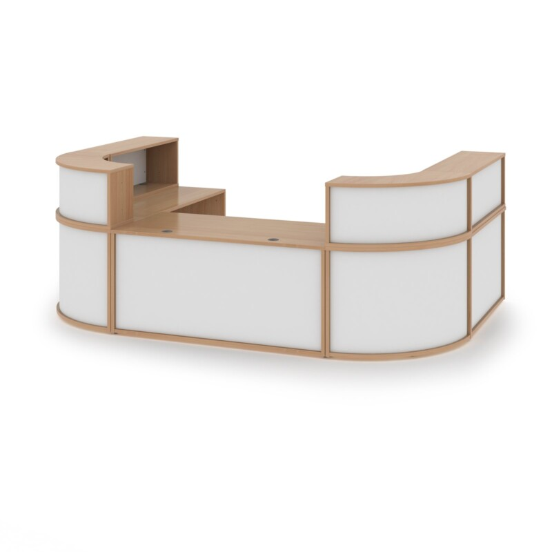 Denver extra large U-shaped complete reception unit - beech with white panels - Furniture